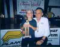 Ethan Farrar (1st place, big bass, Group B) of South Royalton, VT with Ray Kerchal – Tournament Day, Friday, August 15, 2003